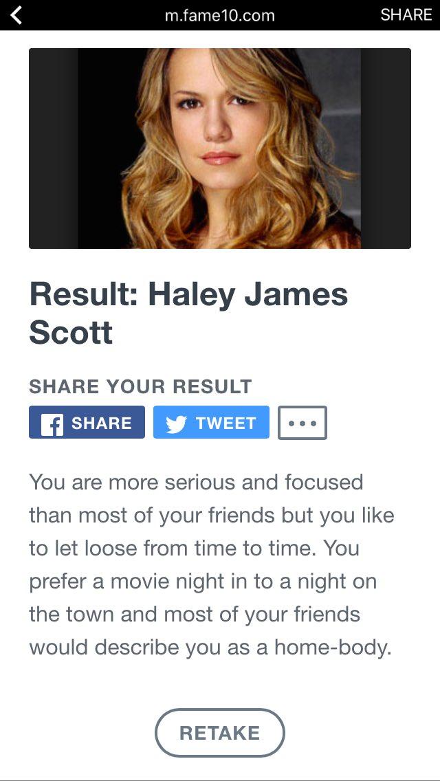 I took the #OneTreeHillTest and I'm #HayleyJamesScott. pic.twitter.com/Shi3k7IaNF
