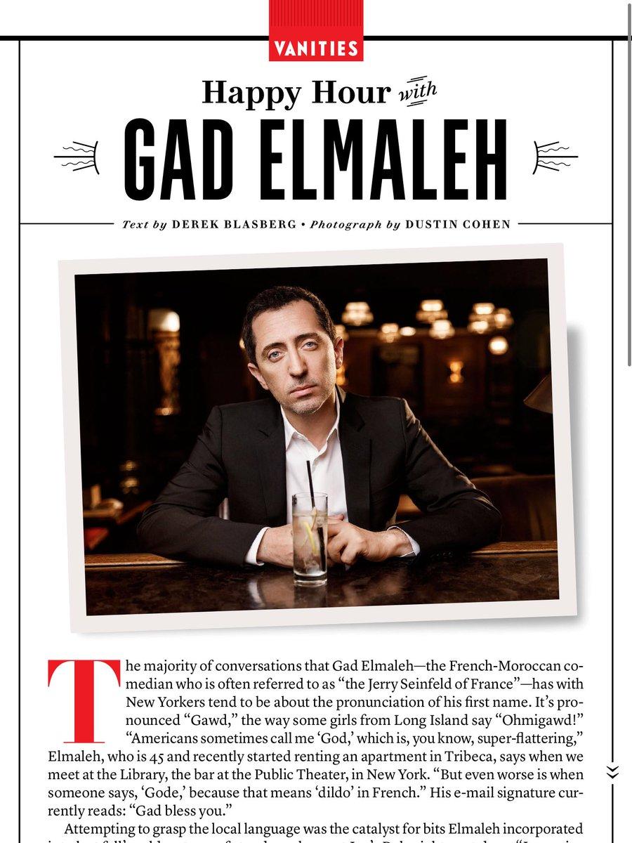 Impressionné par le très Bon article sur @gadelmaleh dans le dernier @VanityFair version US! #wow https://t.co/5MOtyqaJcI