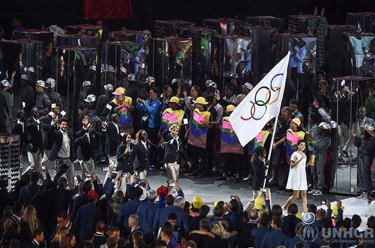 History being made: #TeamRefugees at the Olympics. #RefugeeOlympicTeam 🙌🏼 (photo by @Refugees) https://t.co/gCNHPHg0mC