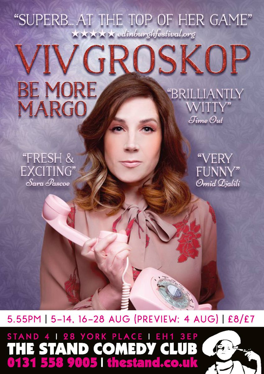 Win! 2 tx to @VivGroskop #BEMOREMARGO #EdFringe show - Thu 11/8 5.55pm @StandComedyClub RT to enter by 6pm 10/8 https://t.co/lUx8lpMyp9