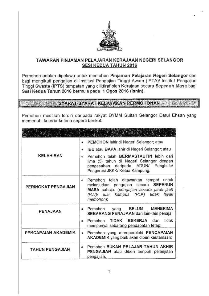 Mpp Uitm Pasir Gudang On Twitter Tawaran Permohonan Pinjaman Pelajaran Negeri Selangor Sesi Ke 2 2016 Https T Co I79pxbl4lu Uitmpg
