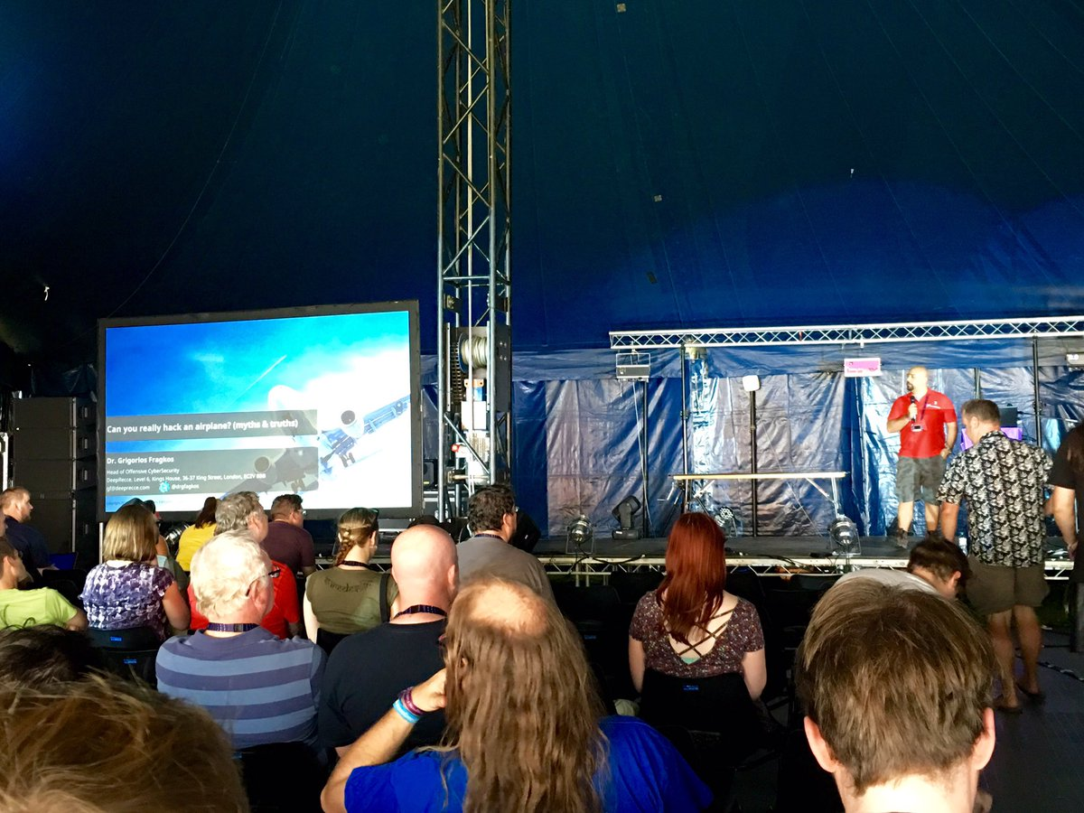 My first @emfcamp session of the day - hacking aeroplanes (and mythbusting) with @drgfragkos https://t.co/HD9m5k1J6z