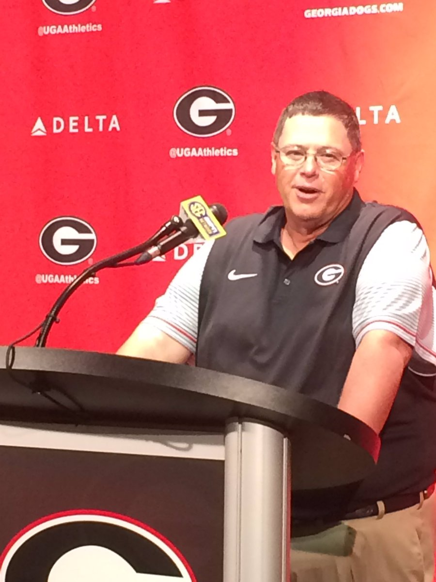 Georgia Offensive Coordinator Jim Chaney, Fan Day pre-practice presser (photo by Bulldawg Illustrated)