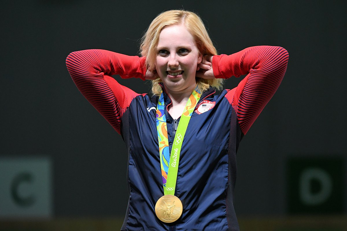 19-year-old Virginia Thrasher of the U.S. wins first gold medal of #Rio2016 in the women's 10-meter air rifle.