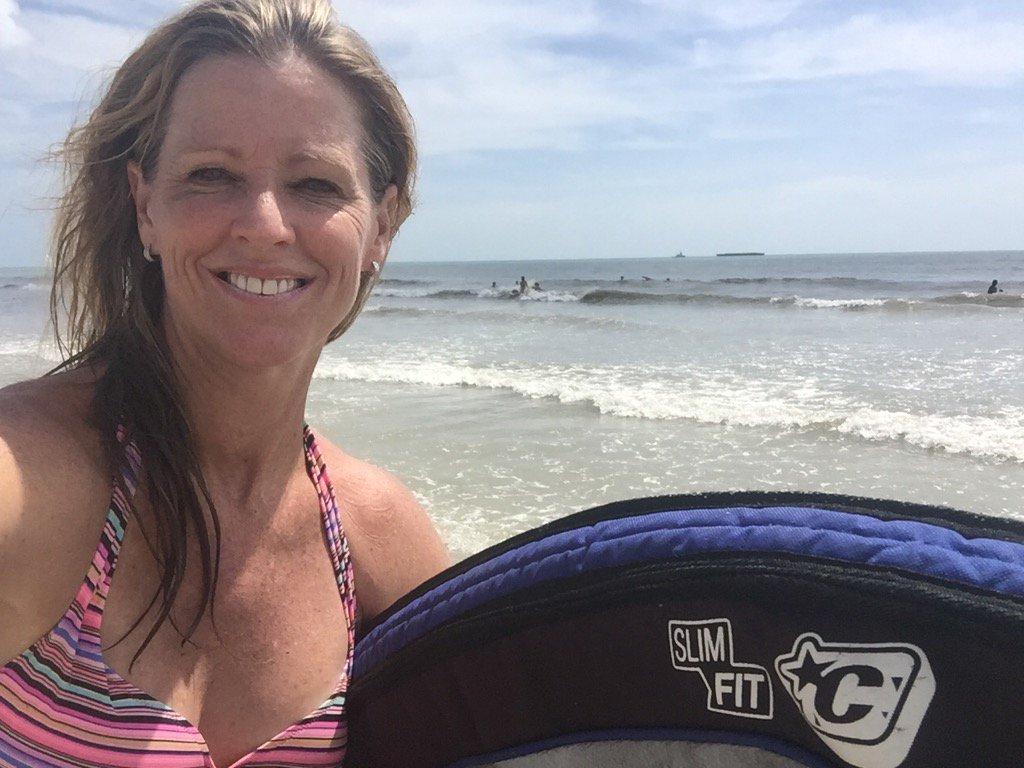 Kelly Tilgham enjoying her time at the beach