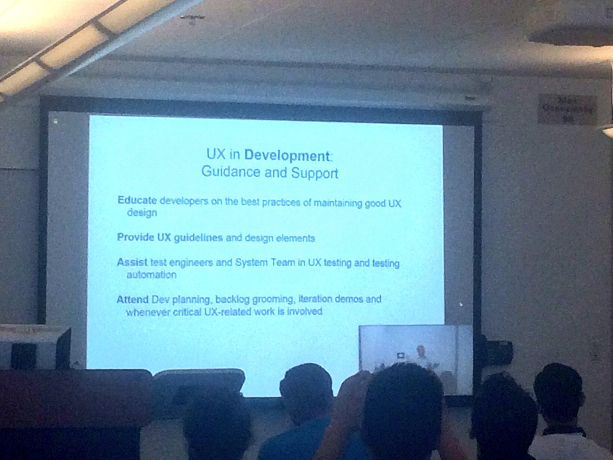 Where UX sits in development - provide guidance and support! @Sean_Van_Tyne #SoCalUXCamp https://t.co/4yOsPSOSGo