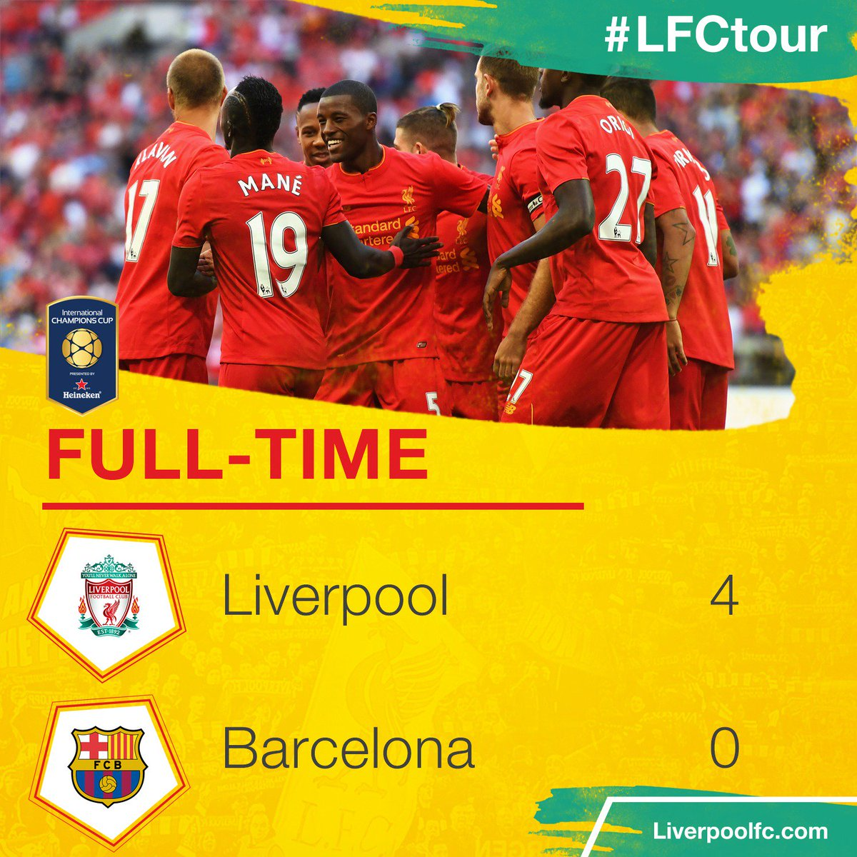 "Liverpool 4 0 Barcelona Result 4 3 Agg: Liverpool FC On Twitter: ""FULL-TIME: #LFC Beat Barca 4-0!…"