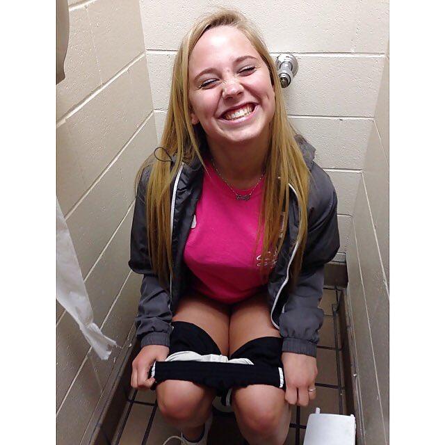 Girl pissing on toilet panties