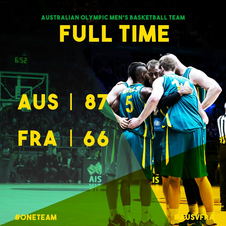 AUSTRALIA WINS! First victory in opening game of @Olympics since 1996!   Box score: https://t.co/9GTLIUSAmI