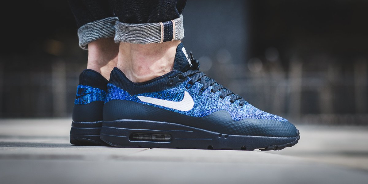 promo code 5809b 6e91a Nike Air Max 1 Ultra Flyknit - Dark Obsidian White-Racer Blue SHOP HERE   http   bit.ly 2aXFoWZ pic.twitter.com yCISspOyai