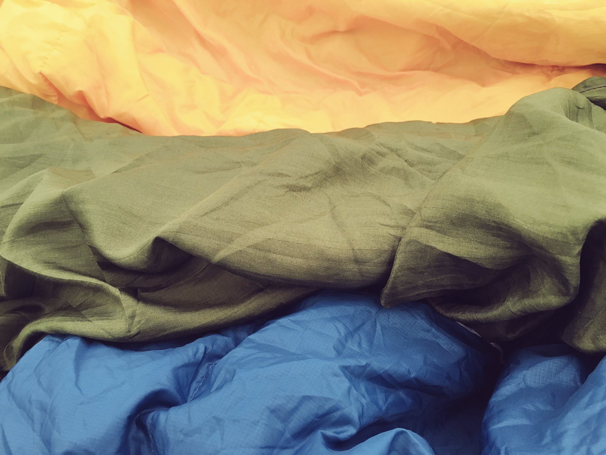 My combination of two one season sleeping bags, a silk liner and a sleep mat made for a toasty night. #emfcamp https://t.co/FzQQBidK4C