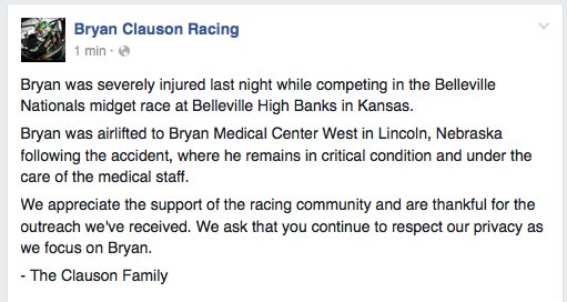 Update from @BryanClauson family: https://t.co/UnTntdVRbu