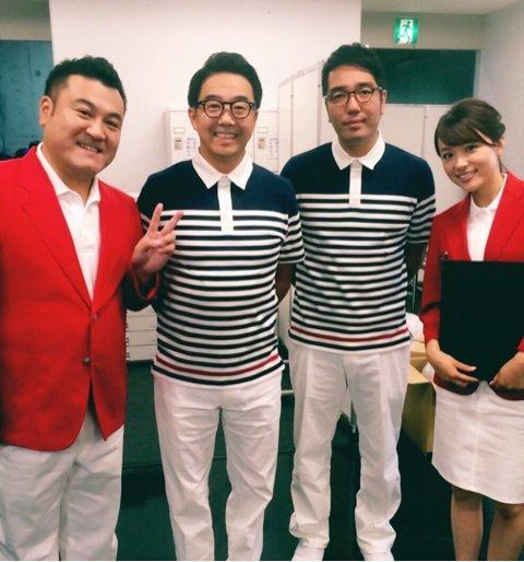 進行役の山崎弘也と本田朋子、おぎやはぎ