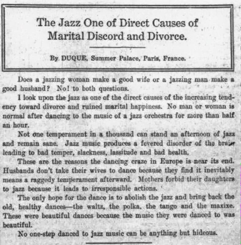 WARNING: Jazz leads to divorce! https://t.co/ZKqLzvrKfp