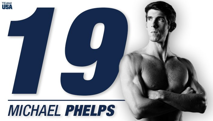 That is GOLD MEDAL #19 for @MichaelPhelps!  🏅🏅🏅🏅🏅🏅🏅🏅🏅🏅🏅🏅🏅🏅🏅🏅🏅🏅🏅 The most decorated Olympian of all time.