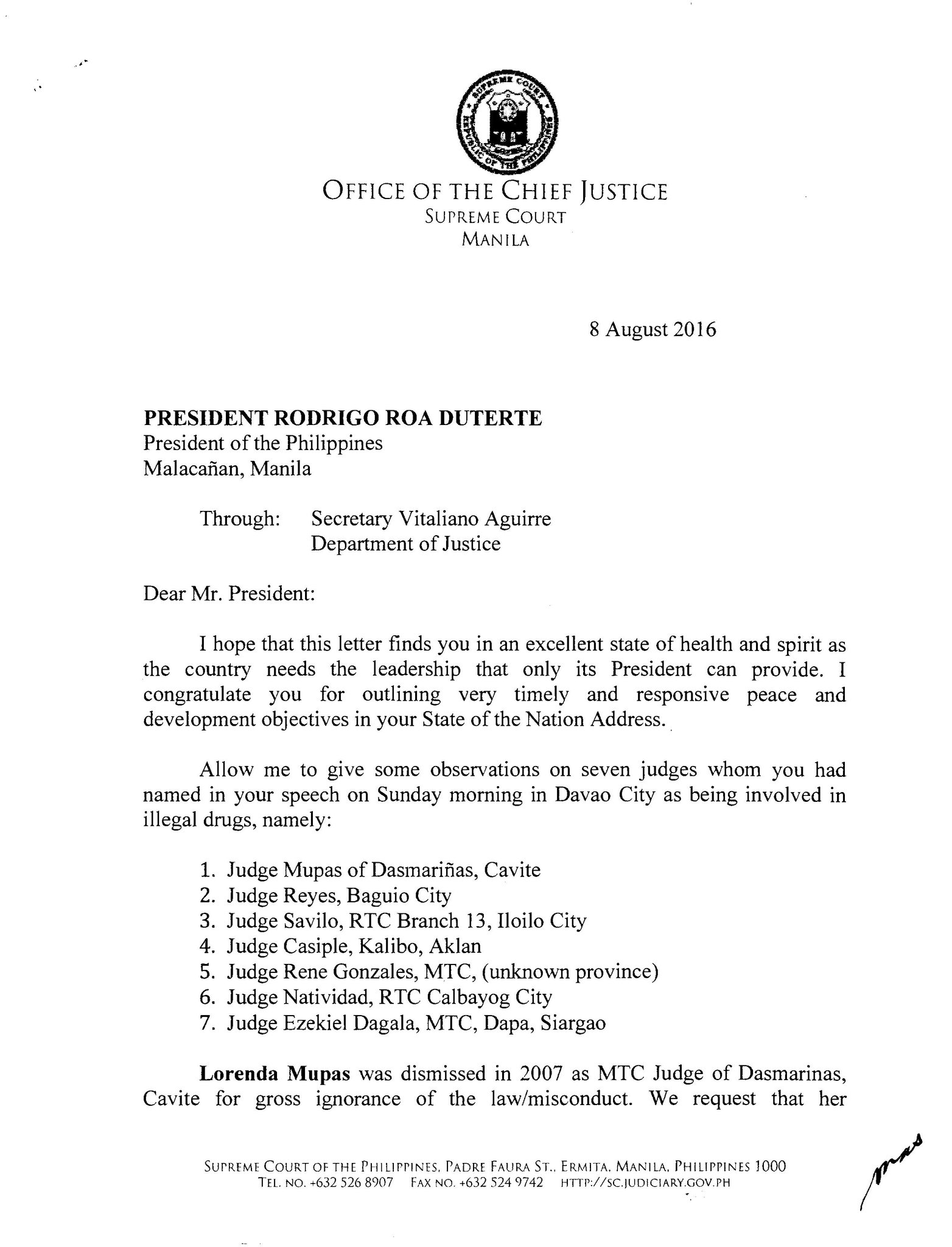 Inquirer On Twitter READ SC CJ Serenos Letter To Pres