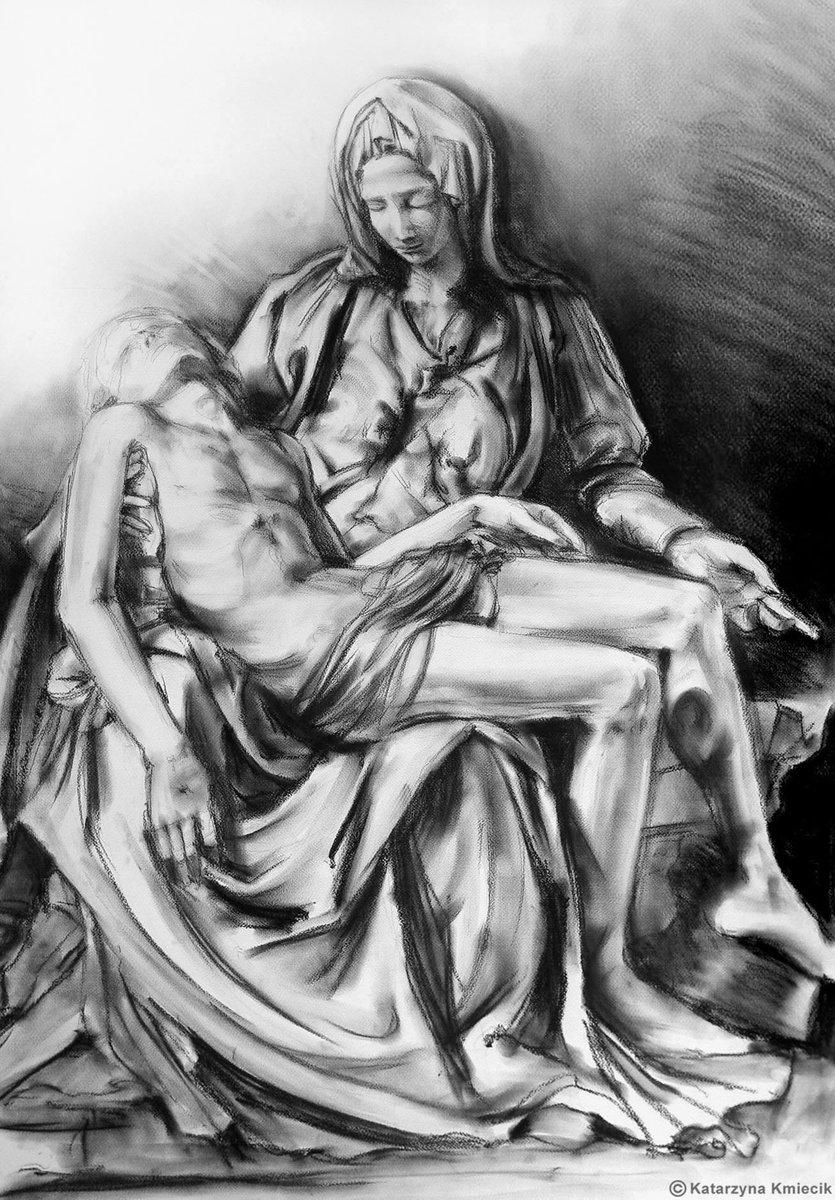 Pieta - charcoal drawing