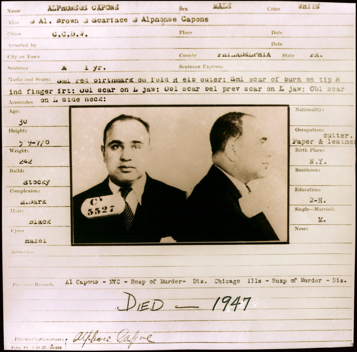 #OnThisDay in 1929: Al Capone, Inmate C-5527, arrives at Eastern State from Holmesburg Prison in northeast Philly. https://t.co/2OfKoxOYRX