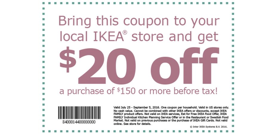 We rarely do coupons at IKEA so take advantage of this offer. Just show this coupon on your phone at the checkouts. https://t.co/lZ63yCTFfp