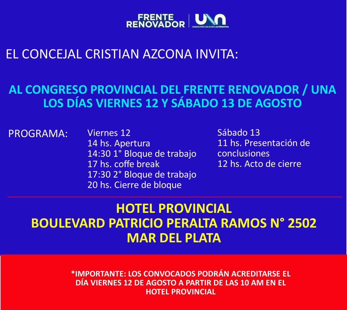 CONGRESO #FRENTERENOVADOR #UNA @cristian_azcona @SergioMassa @MassaPrensa @frenterenovador @MalenaMassa<br>http://pic.twitter.com/04phG5mRzs