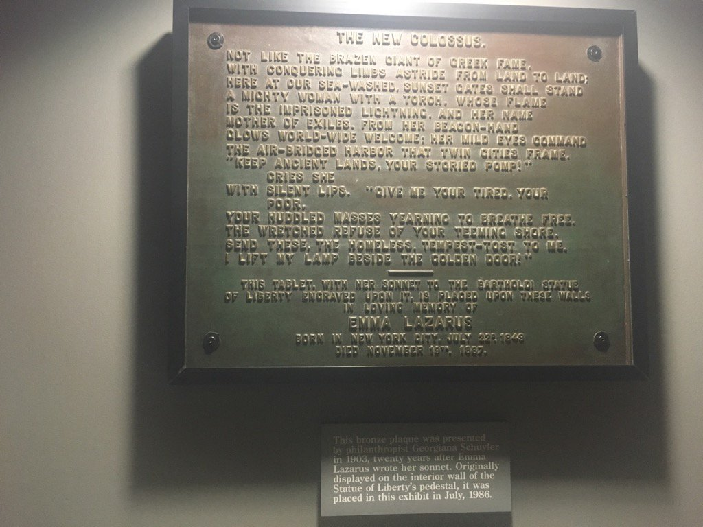 Keung Hui On Twitter Plaque For Emma Lazarus Poem The New