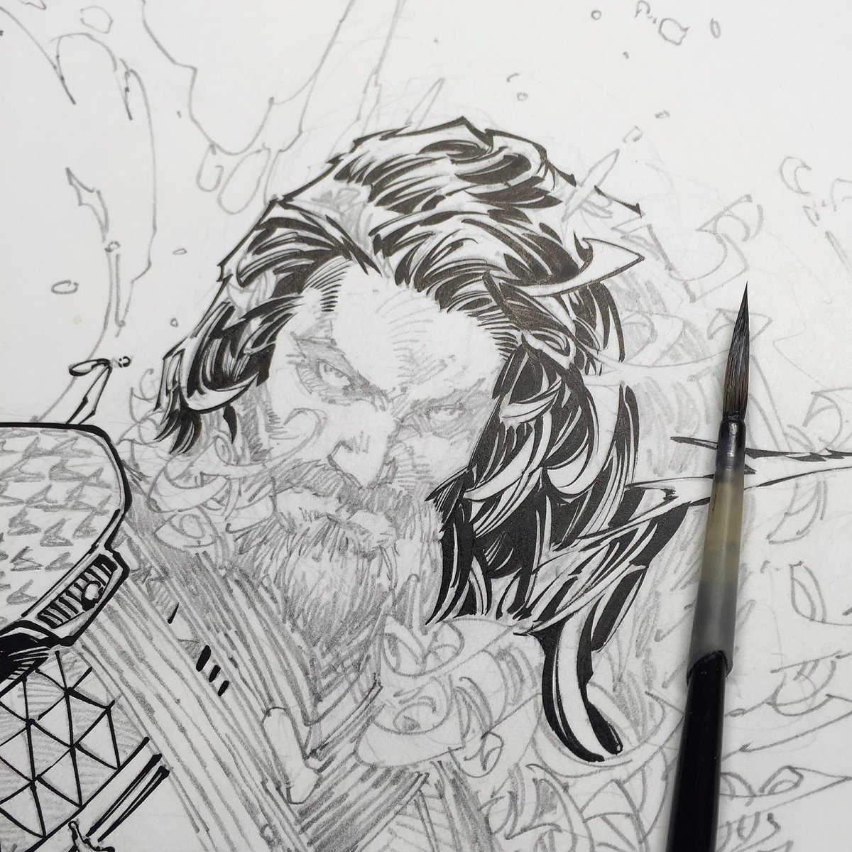 Aquaman commission wip over @Demonpuppy #Aquaman #dccomics #inks #brettbooth #jonathanglapion #commission https://t.co/mhFj8xFcIh