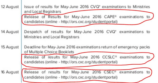 The 2016 CXC examinations release dates - https://t.co/OUVBpOGu92 https://t.co/rPGd2H1UIF