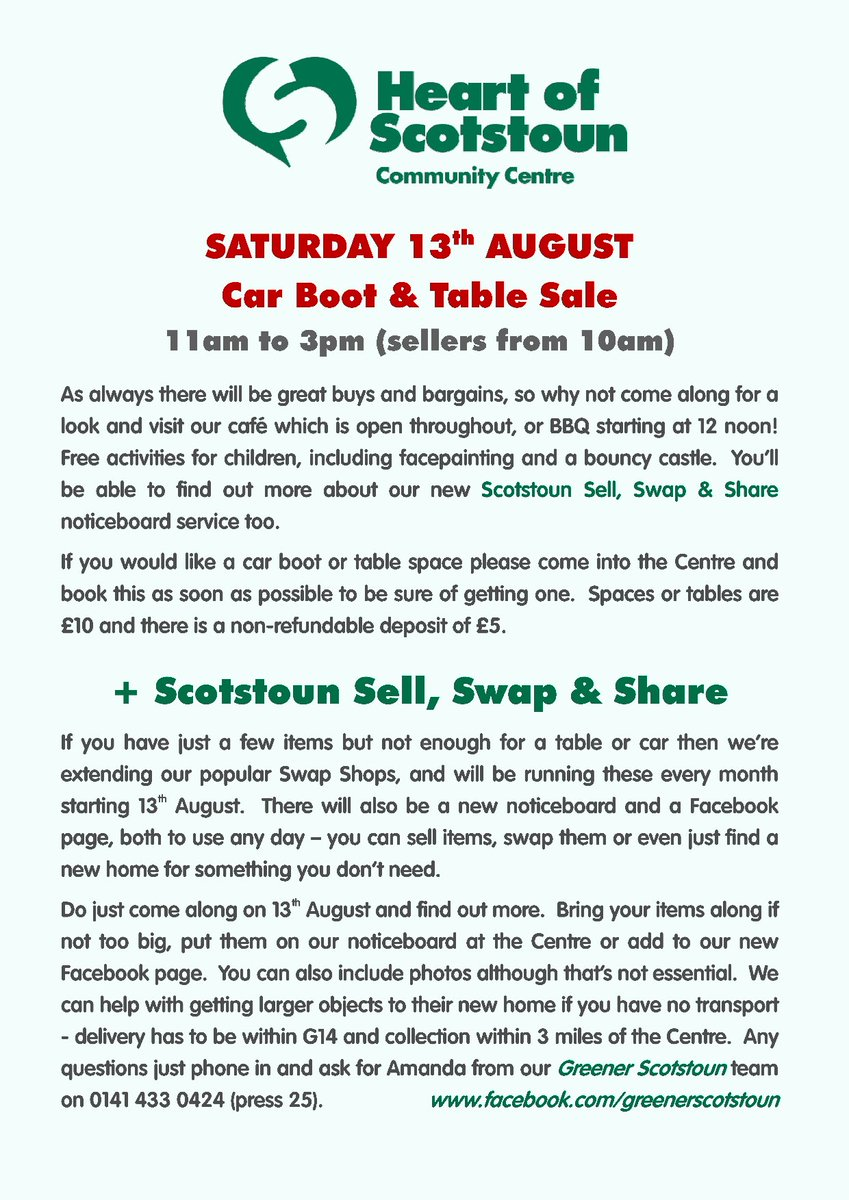 Heart Of Scotstoun Car Boot Sale