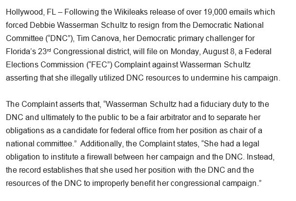 In which Tim Canova will file an FEC complaint against Debbie Wasserman Schultz over the Wikileaks emails https://t.co/uRy8c98xmB