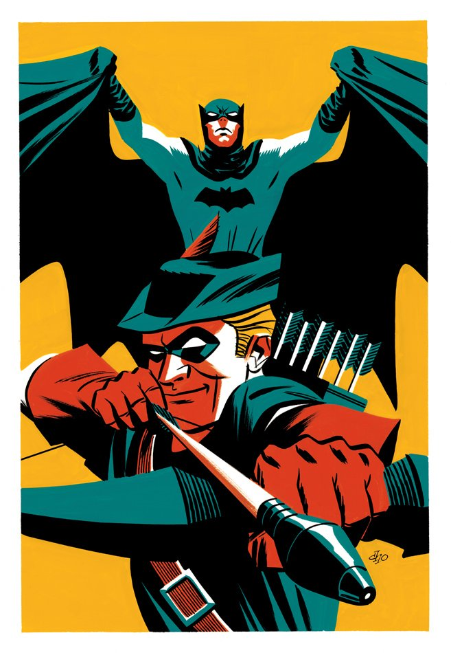 Batman and Green Arrow painting, in gouache and ink: https://t.co/wguQgLhjgz