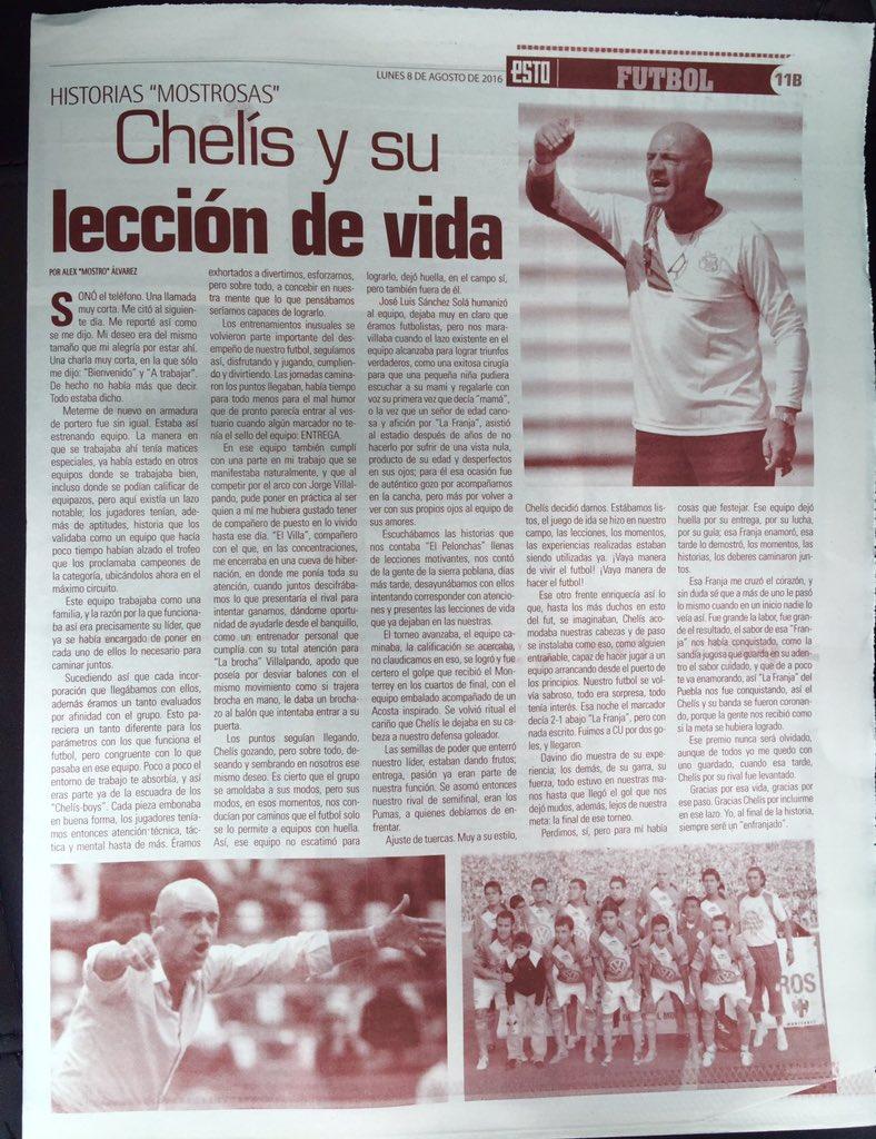 Es lunes de #HistoriaMostrosa de vida,futbol y aprendizaje con @Elchelis @JoVillalpando en @PueblaFC en @estoenlinea https://t.co/ZVPJVqhxDr