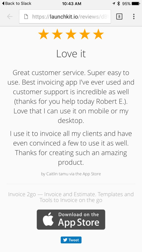 greg waldorf on twitter love reading invoice2go appstore reviews always trying harder for our customers