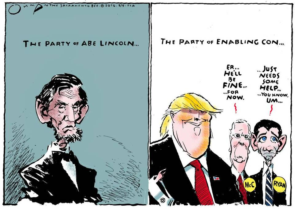 Latest Political Cartoon From Jack Ohman The Party Of Lincoln
