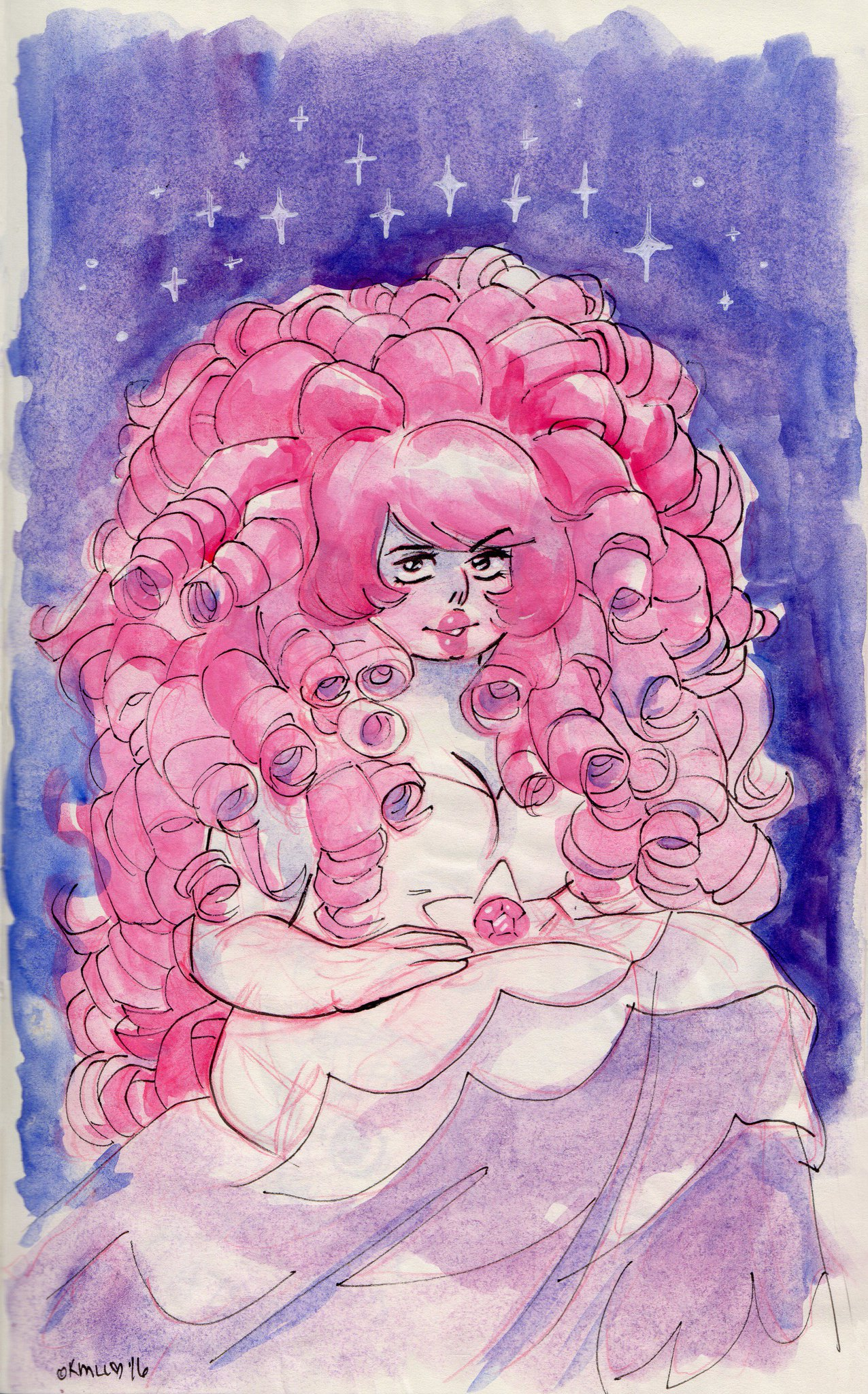 """#RoseQuartz #Watercolor sketch from my #moleskin when the power was out! #StevenUniverse"""