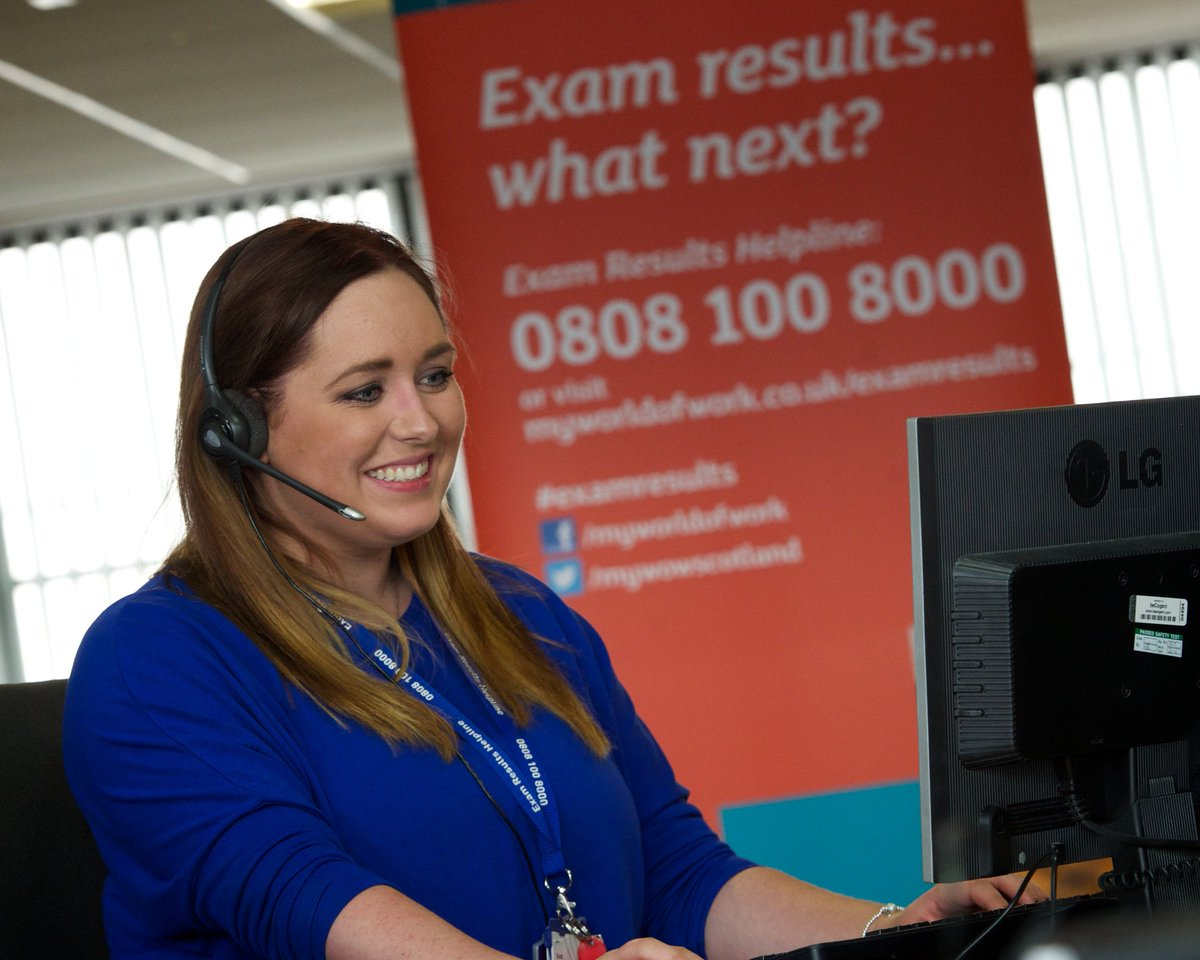Exam Results Helpline opens at 8am on 0808 100 8000. SDS careers advisers ready to take your calls. #examresults https://t.co/ArYSGfVB99