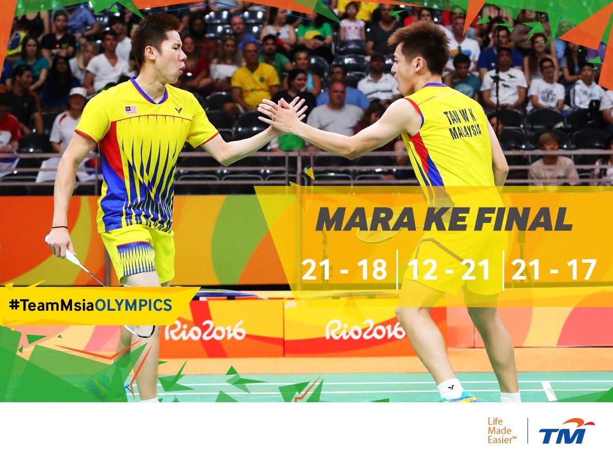 Goh V Shem & Tan Wee Kiong mara ke final!  #TeamMsiaOlympics #KamiTeamMalaysia #Rio2016 #RoadToFinal #Badminton https://t.co/0Lug1DgBgY