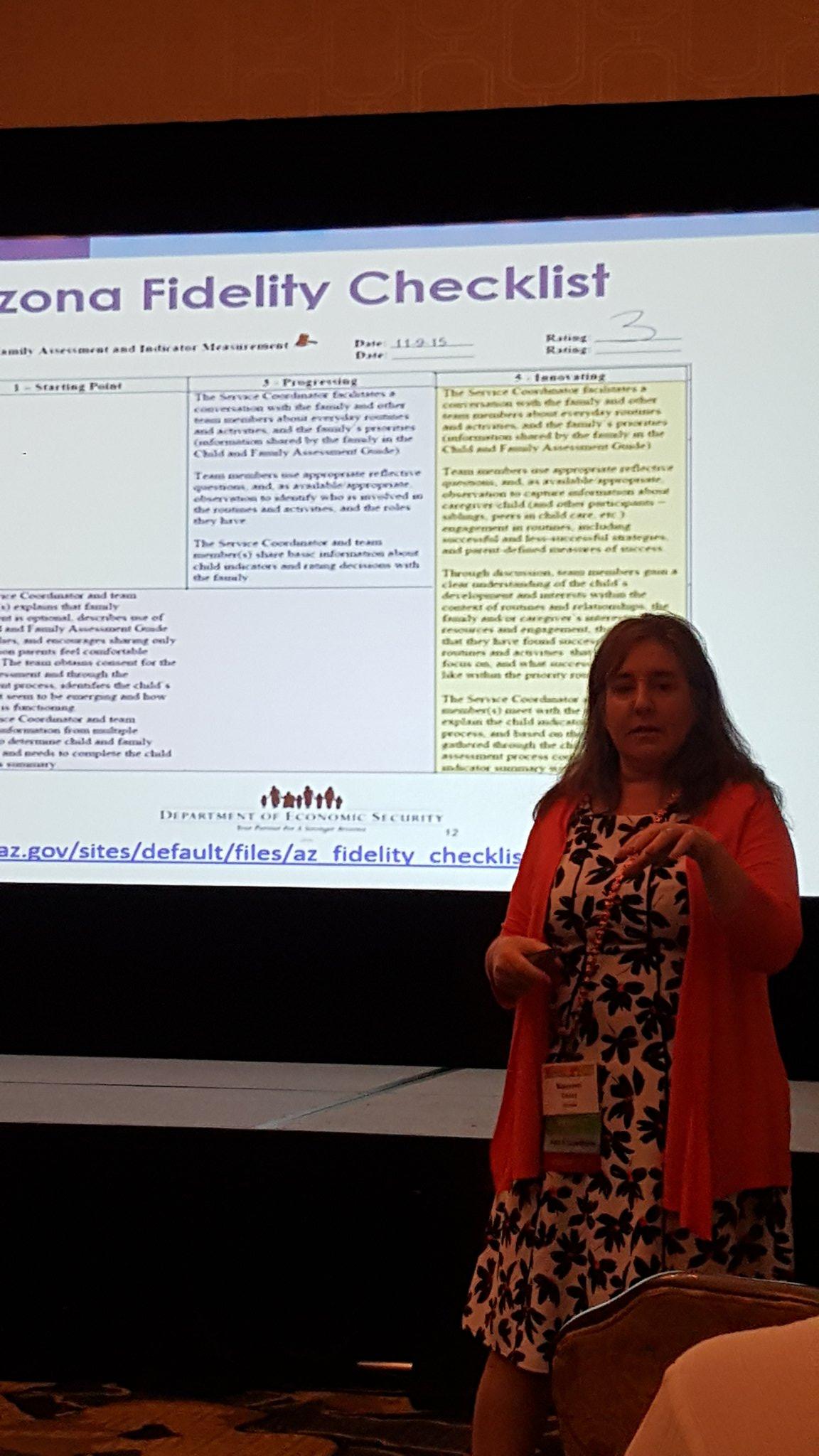 Maureen shares the Arizona Fidelity Checklist. Partnering with families. #ECIDEA16 @DaSyCenter @caseywaid https://t.co/TuBWKDvwNo