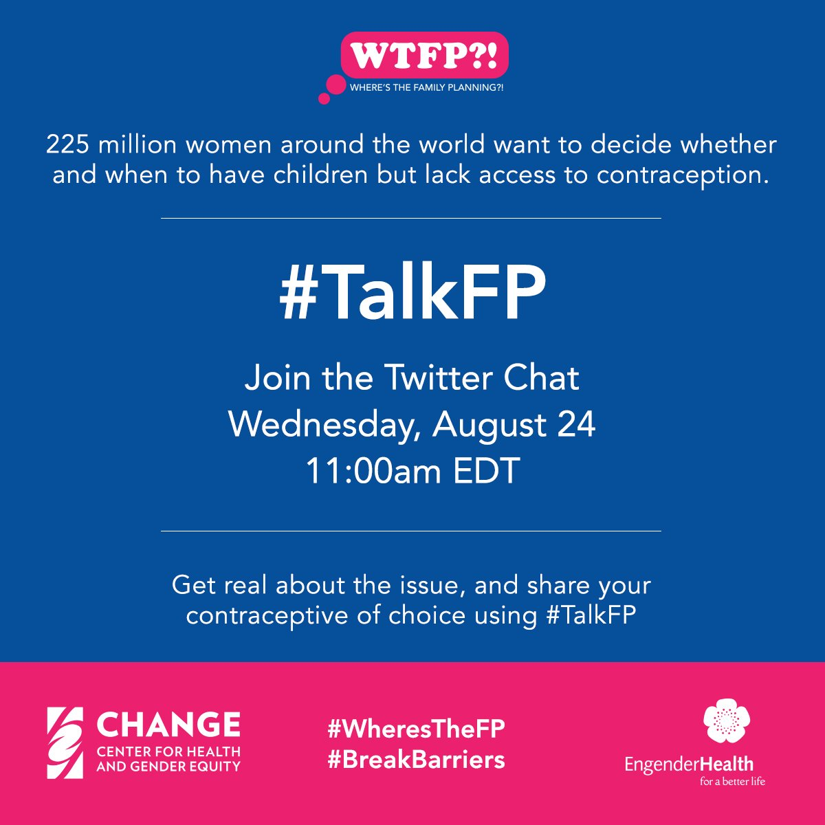 225 million women around the world want modern contraception and lack access to it. #TalkFP #BreakBarriers https://t.co/qITv2vagbH