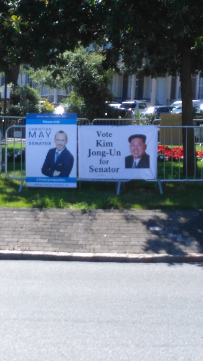 A hoax banner has appeared in Jersey, wanting North Korean dictator Kim Jong-Un for Senator. https://t.co/ED2OsTxn8U https://t.co/qTHyRP7m6H