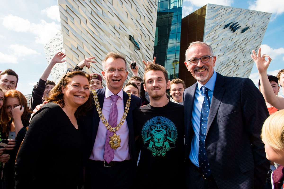 Fab day ystrday @TitanicBelfast with @ProSyndicate - delighted we were there to celebrate 3 million visitors!