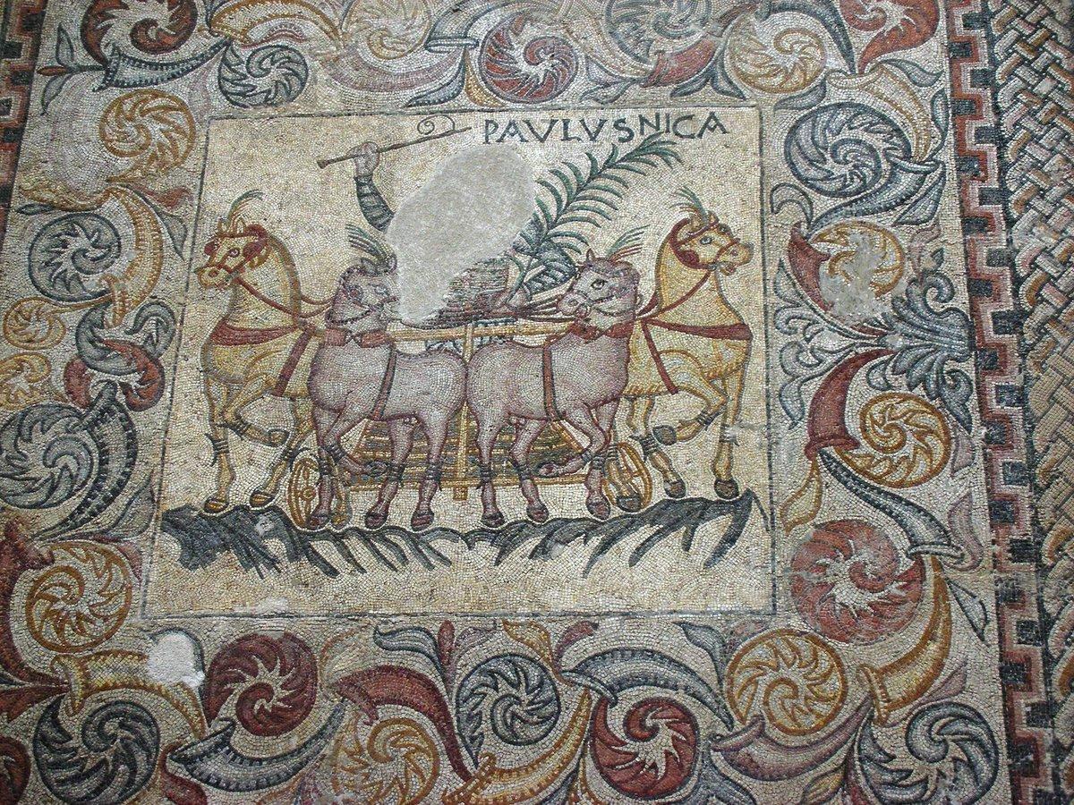 Imperio romano on twitter mosaico de los aurigas museo for Mosaico romano