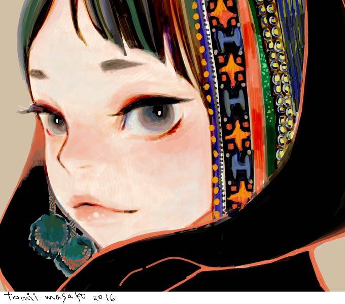 夜絵:目と目が:顔のアップを描きたい欲求ありました。 https://t.co/8odEpONqFv