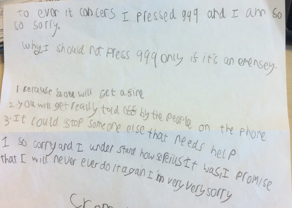 Child sends adorable apology letter for hoax emergency call ITV News