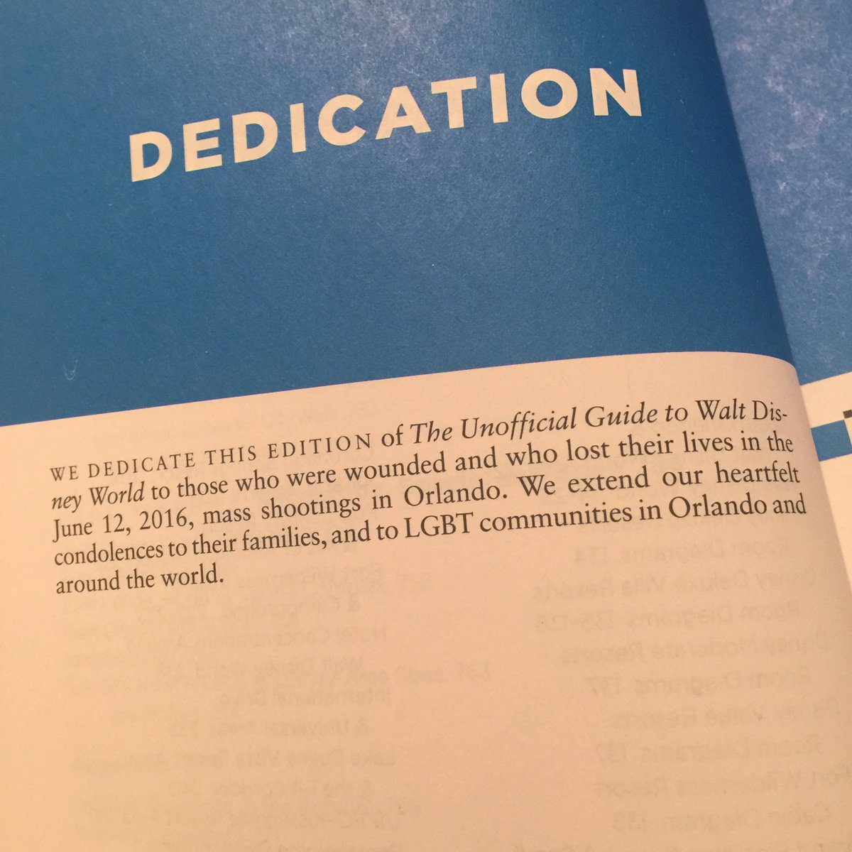 The dedication in the 2017 Unofficial Guide to WDW is truly touching. ❤️