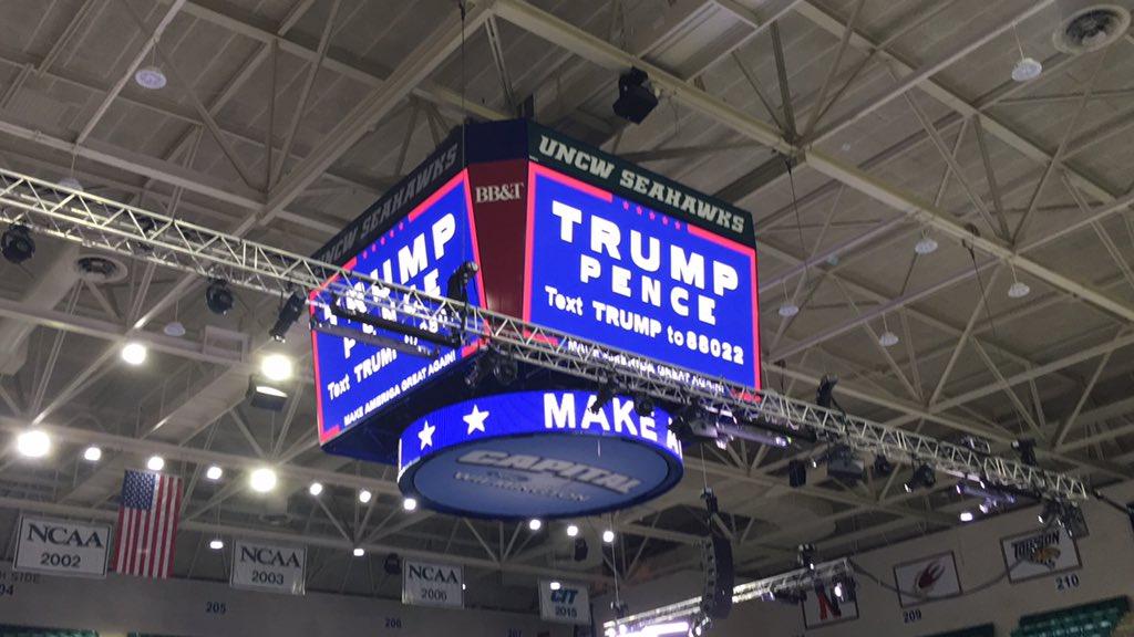 #TrumpILM has taken over Trask's Jumbotron.