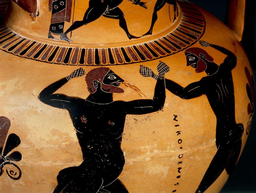 борцы рисунок на древнегреческой вазе менее