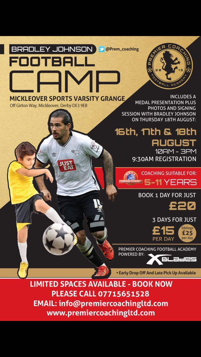 Im excited to announce my first soccer camp with Premier Coaching Ltd! Call or email to book your childs place!