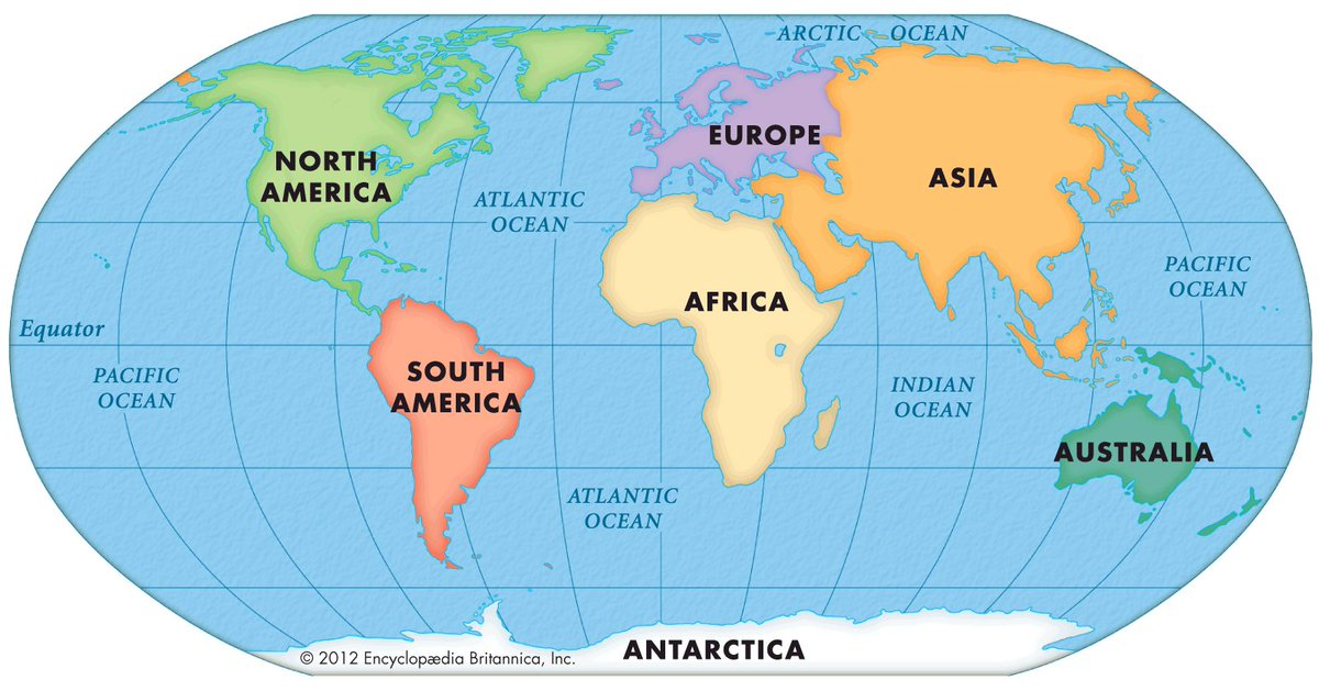 Map Of 7 Continents And 5 Oceans Tina Marie on Twitter: