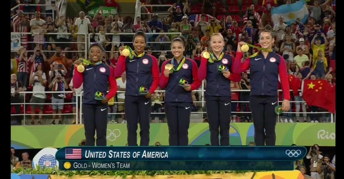 And here is the #FinalFive!! #gold #USA #Rio2016 #USAgymnastics https://t.co/U4gIm0WqUu