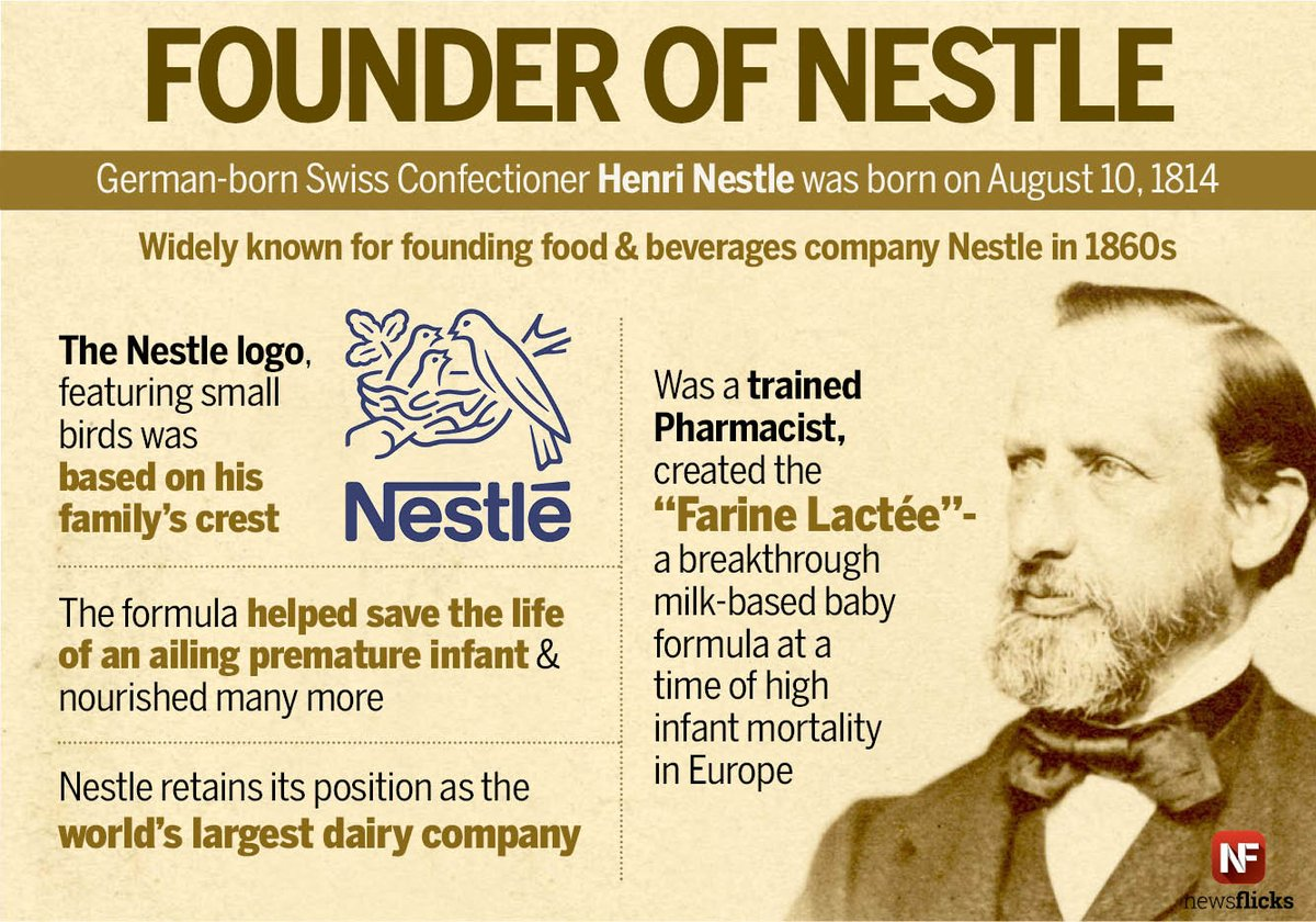 Founder of the world's largest dairy company, henri nestle ...